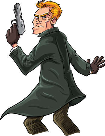 secret agent: Cartoon spy with a gun looking over his shoulder. Isolated