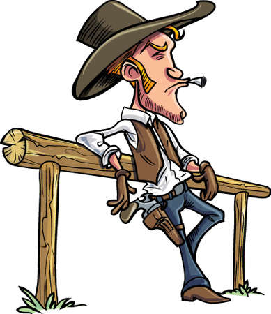 Cartoon cowboy leaning on a fence, smoking a cigarette Ilustracja