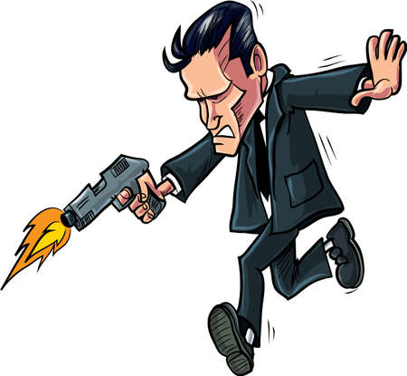 cartoon gangster: Cartoon spy running with his gun, Isolated