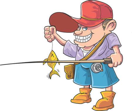 fisher man: Cartoon fisherman caught a fish. Isolated Illustration