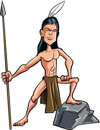 indian boy: Cartoon American indian brave with a spear. Isolated