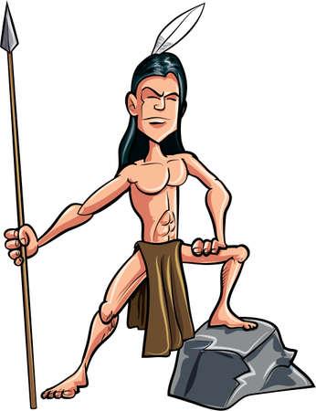 indios americanos: Cartoon americano indio valiente con una lanza. Aislado Vectores