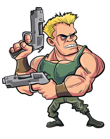 Cartoon muscled soldier with two pistols. Isolated