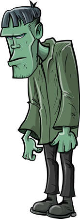 Cartoon Frankenstein in a green outfit. Isolated Illustration