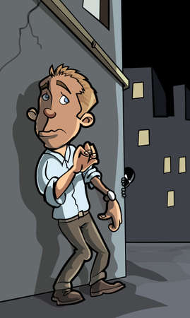 hostility: Cartoon crime about to happen in a city street