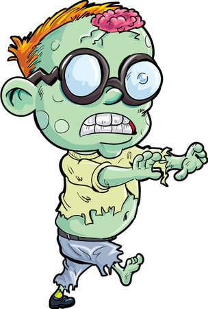 stalking: Cute cartoon stalking zombie. Isolated on white