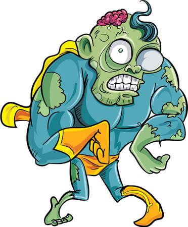 Cartoon hero zombie.