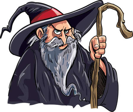 Cartoon wizard with a staff. Isolated on white Illustration