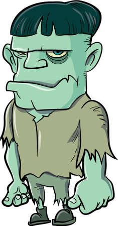 cartoon frankenstein: Cartoon Frankenstein isolated on white