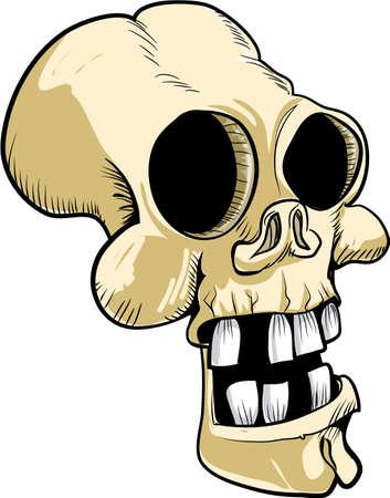 Cartoon skull with big teeth. isolated