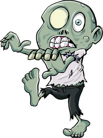 menacing: Cartoon zombie stalking. Isolated on white back Illustration
