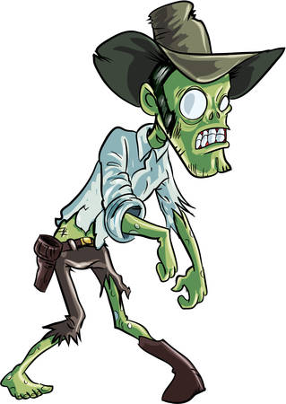 Cartoon zombie cowboy. Isolated on white