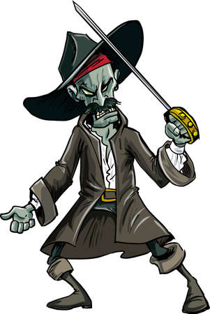 Cartoon evil zombie pirate. Isolated on white 向量圖像