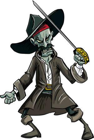 plunder: Cartoon evil zombie pirate. Isolated on white Illustration
