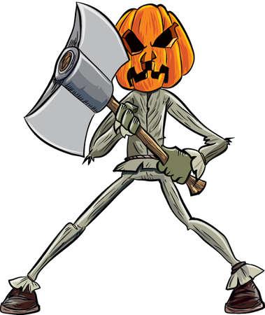 calabaza caricatura: Cabeza de calabaza de dibujos animados con un hacha. Aislado Vectores
