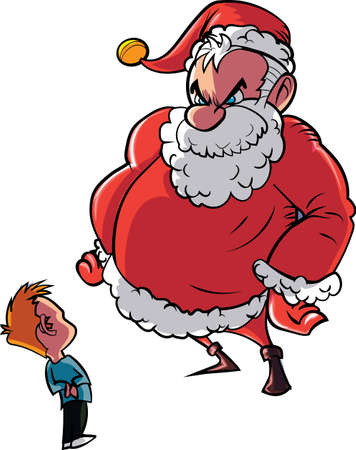 nice guy: Santa scolding naughty child. Isolated on white Illustration