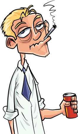 the drinker: Cartoon beer drinker and smoker. Isolated