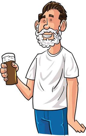 the drinker: Cartoon beer drinker with Santa beard. Isolated Illustration