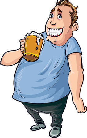 drinker: Cartoon overweight beer drinker. Isolated on white Illustration