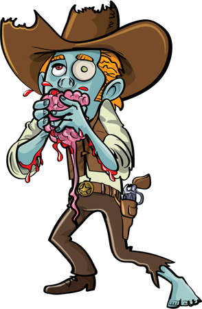Cartoon zombie cowboy eating a brain. Isolated