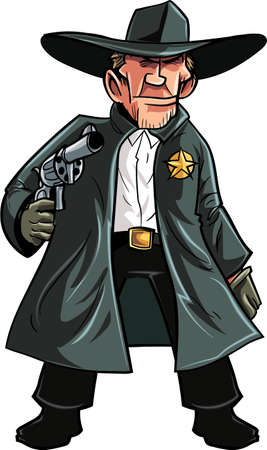 cartoon hat: Cartoon cowboy sheriff pulling a gun. Isolated on white Illustration