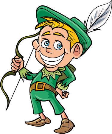 Cartoon cute Robin Hood. Isolated on white Vector