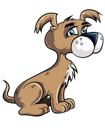 lap dog: Cartoon cucciolo carino cercando felice. Isolati su bianco