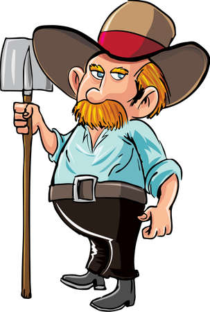 Cartoon farmer with moustache and hat. Isolated