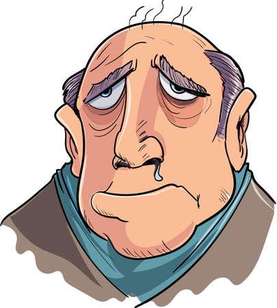 nausea: Cartoon man suffering from flu. Isolated on white Illustration