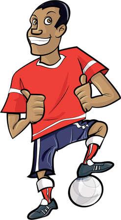 footballer: Cartoon footballer with thumbs up. Isolated on white
