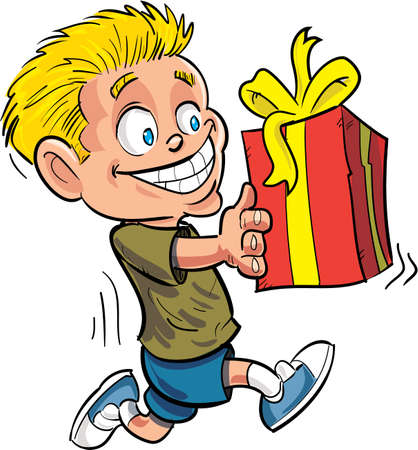 wrapped gift: Cartoon boy running with a wrapped gift. Isolated on white
