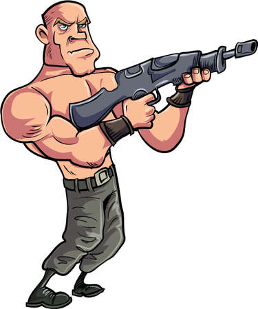 gunman: Cartoon muscled gunman with automatic rifle. Isolated on white Illustration