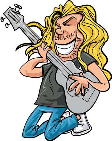 Cartoon rockowy gitarzysta grając muzykę rockową. Pojedynczo na białym Ilustracje wektorowe