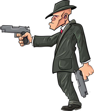 assassin: Cartoon gangster hitman pointing his gun. Isolated on white