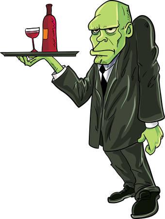 igor: Cartoon Igor water serving drinks. Isolated on white Illustration