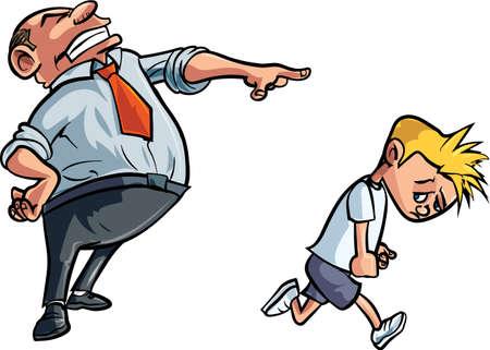 Cartoon father scolding unhappy boy. Isolated Vector