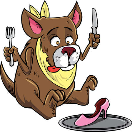 dog eating: Cartoon dog eating a shoe. Isolated on white Illustration