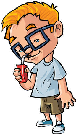 man drinking water: Cute cartoon boy with glasses drinking juice. Isolated on white