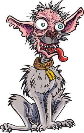 Cartoon very ugly dog. Isolated on white