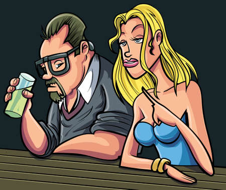 wealthy lifestyle: Cartoon man and woman sitting at a bar. Isolated