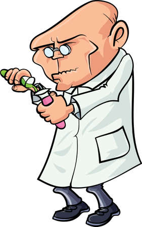 scientist in lab: Cartoon scientist mixing chemicals. Isolated on white