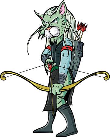 adventure story: Cartoon elf warrior. Isolated on white