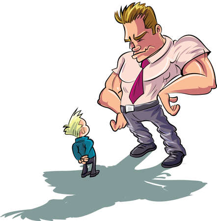 father and son: Cartoon man scolding a little boy. Isolated Illustration