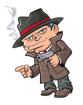 cartoon gangster: Cute cartoon gangster with gun. Isolated in white