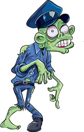 horrors: Cartoon skulking policeman zombie. Isolated on white