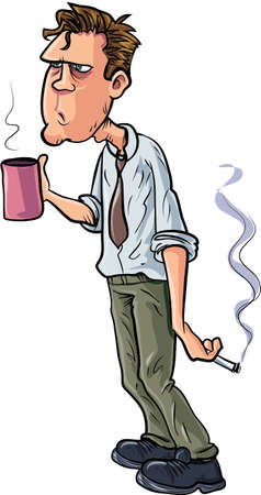 bussinesman: Cartoon stressed office worker with coffee and cigarette