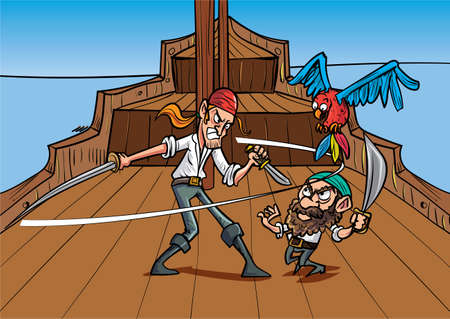 dueling: Catoon priates dueling on a pirate shirt