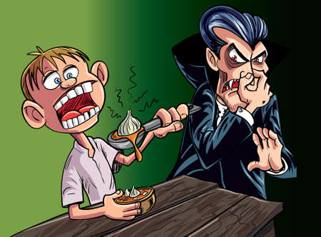 Cartoon vampire scared of kid eating garlic Ilustração