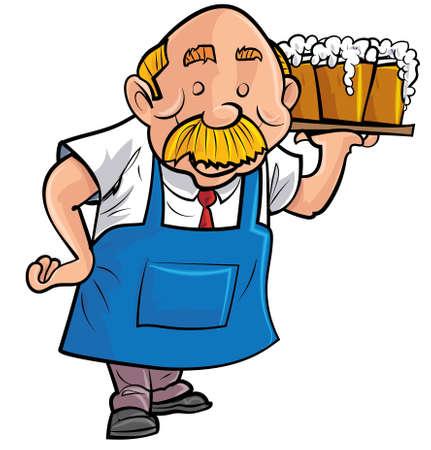barmen: Cartoon barman serving beer. Isolated on white Illustration