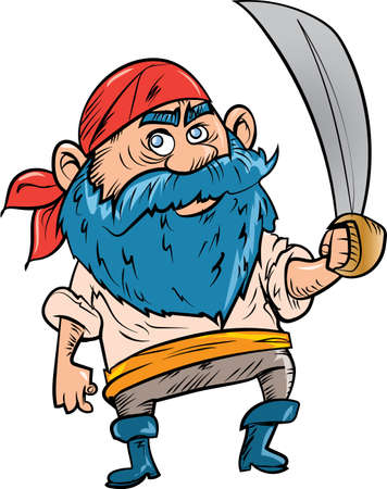 sea robber: Cartoon pirate with blue beard. Isolated on white
